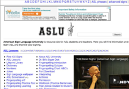 american sign language university screenshot