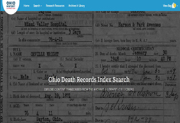 ohio death record index screenshot